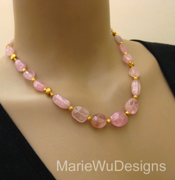 Super Rare-Afghan Pastel Pink Tourmaline Cabochon Nugget-20k 22k Solid Gold Necklace and Matching Earring Set