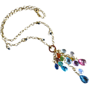Teal Blue Diamonds~Columbian Emerald~Sapphire~Kyanite~Pink and London Blue Topaz~Tourmaline~Mandarin Garnet~Multi Gems~14k Solid Gold Cascade Necklace~