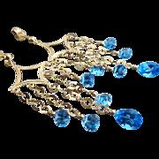 Ultimate Chandeliers~Genuine Swiss Blue Topaz~14k Solid Gold Earrings~