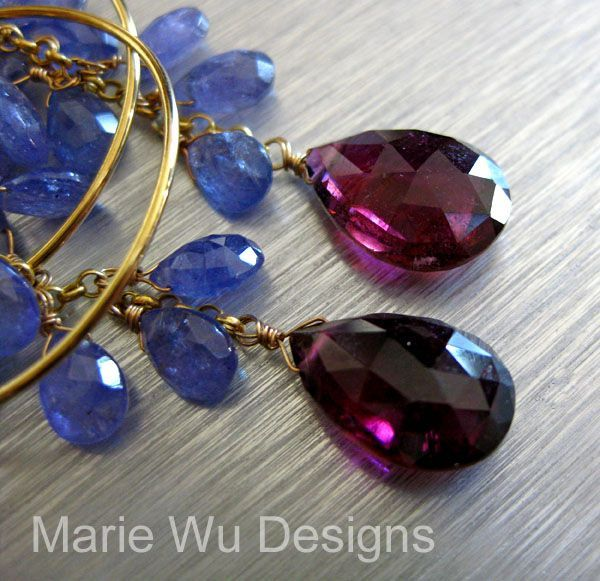 Luxuriant Tanzanite~8.5ct NATURAL Rubellite Tourmaline~14k Solid Gold Hoop Chandelier Earrings~