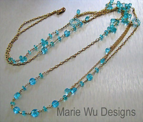"Contemporary 36"" All Gem Apatite~14k Gold Fill Layering Necklace~"