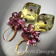 Pink Topaz~Ruby~pink Tourmaline~Rhodolite Garnet~Unique Lemon Quartz~14k Gold Leverback Earrings~