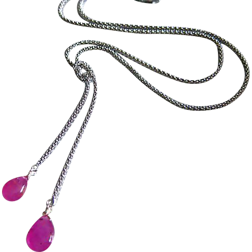 Hot Pink-Natural Gel Pink Sapphire-Sterling Silver Lariat Necklace
