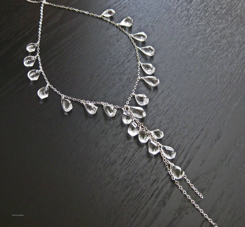 Crystal Quartz Briolettes-Sterling Silver-Long Cascading Necklace