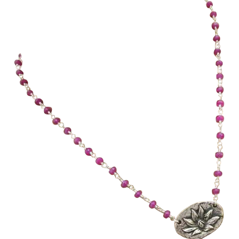 Pink Sapphire-Lotus Blossom Enlightenment Silver Silver Pendant-Kissing Love Birds Charm-September Birthstone-Adjustable Necklace
