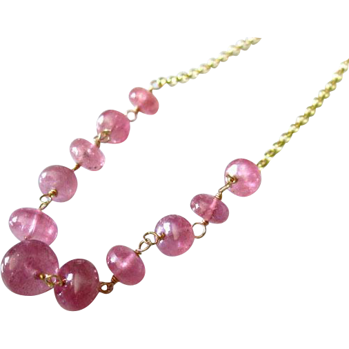 23ct Jelly Pink Natural Translucent Sapphire-14k Gold Necklace