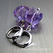 Amethyst-16k White Gold Plated Hoop Huggie Earrings