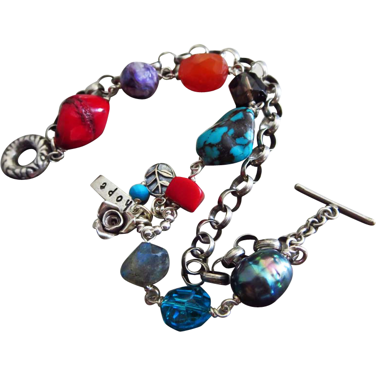 Multi Gems-Chunky Sterling Silver 2 Strand Bracelet-Turquoise-Coral-Charoite-with Charms-