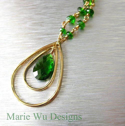 2.3ct Chrome Diopside-14k Gold Pendant Necklace