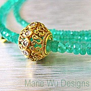 Genuine Columbian Emerald 22.15ct-Rose Cut Diamond Pendant-18k-20k Solid Gold Necklace-May Birthstone