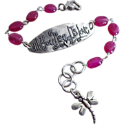 Jelly Pink Sapphire-Love Script-Sterling Silver-September Birthstone-Adjustable Bracelet with Dragonfly Charm