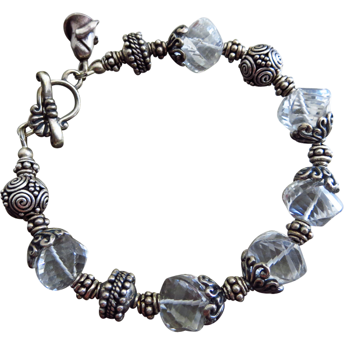 Crystal Quartz Spirals-Ornate Bali Silver Toggle Bracelet with Rosebud Charm