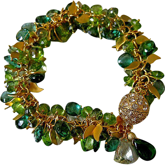Spring Bracelet-Green Amethyst-Peridot-Green Apatite-Chrome Diopside-CZ Clasp-16k Gold Plated Bracelet with Charms