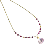 Captivating-Madagascar Pink Rose Quartz Pendant-Rubellite Pink Garnet-18k 14k Gold Necklace