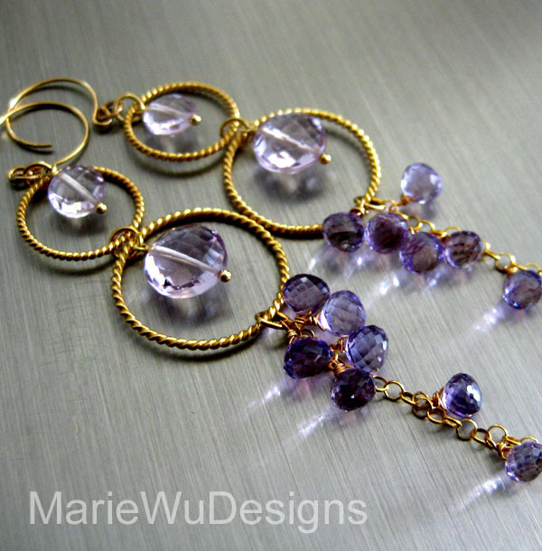 Reserved for Laura-Pink Amethyst-Cascading Hoops-Long Dangle-24k Gold Vermeil Earrings
