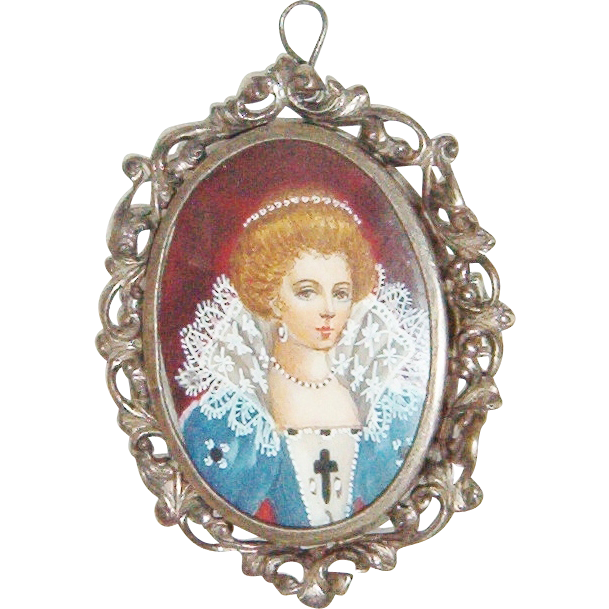 Antique 800 Silver Hand Painted Victorian Lady Portrait Brooch/Pendent