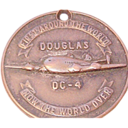 "Douglas Aircraft Rare Numbered Employee Company Identification Badge Circa 1946-53 DC-4 ""First Around the World.."""