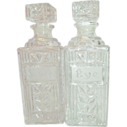 Heavy Glass Decanters Rye & Scotch in Tantalus Lockable Caddy