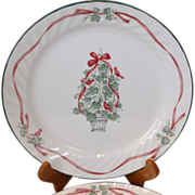 "Set of 4 Corelle Ivy Holiday 10 1/4"" Plates Red Ribbon"