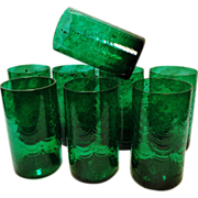 Set of 8 Large Hand Blown Emerald Green Glass Tumblers Drinking Glasses