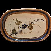 Vintage Mexican Folk Art Pottery Tray Cobalt / Brown Rim