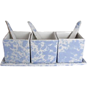 Bennington Potteries Spatter 7 Pc Condiment Set w/Spoons & Tray Morning Glory Blue Agate Spongeware