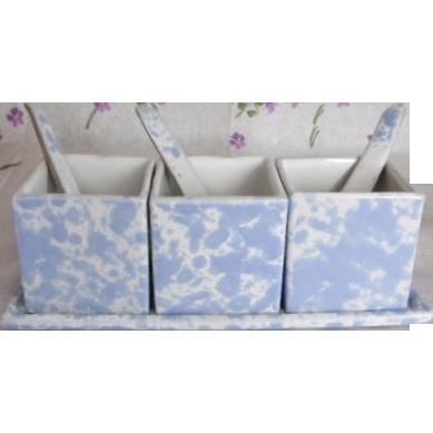 Scarce Bennington Potteries Spatter 7 Pc Condiment Set w/Spoons & Tray Morning Glory Blue Agate Spongeware Pottery