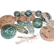 Collection of old Fishing Float / Bouy, Blown Glass Ball  Floats, Fish Nets, Net Shuttles