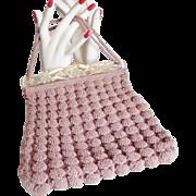 Art Deco 1930 Popcorn Crochet Bag Purse Fancy Lucite Flower Clasp Handle