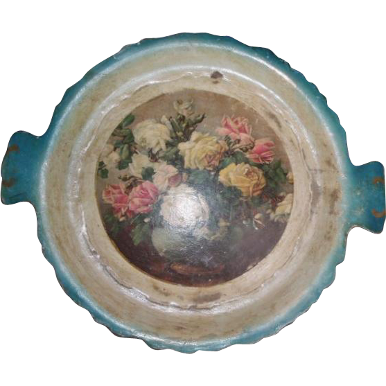 Old Paper Mache Hand Painted Tray Blue  w/ Flowers Roses Lacquer Papier Shabby/Cottage Chic Decor
