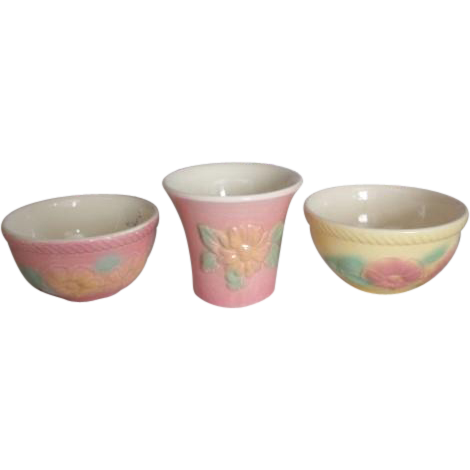 3 piece collection of Hull Pink and Yellow Sunglow Pottery Ovenproof USA