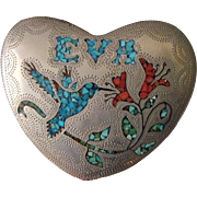 Silver Heart Belt Buckle for Eva Turquoise, Coral Hummingbird & Flowers Native American