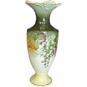 A&C Bavaria Pottery Vase Hand Painted / Signed by A. Koch Grapes & Leaves Design