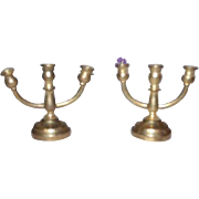 2 Old Brass Candelabra Dollhouse Miniature Set Candlestick Holder Doll House