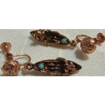 Copper Native American in Kayak / Canoe Earrings Screw Back
