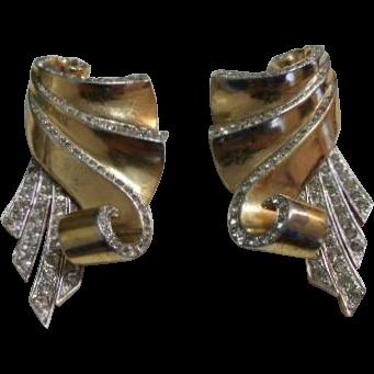 Boucher Vintage Gold Tone Rhinestone Brooch Fur Clips w/ Phrygian Cap Mark