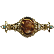 Ornate Florenza Faux Tortoise Shell Glass Cameo Gold Tone Brooch Pin