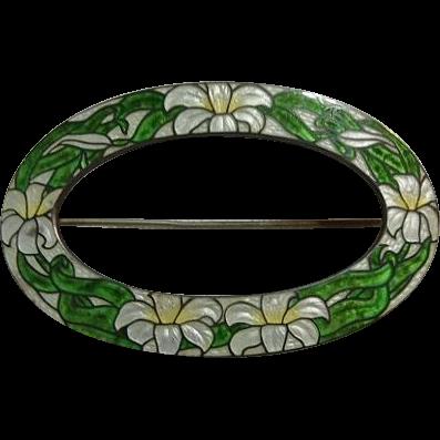 Sterling Silver Cloisonne Enamel Floral Pin Brooch Watson Guilloche
