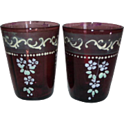 2 Victorian Purple / Amethyst Glass Tumblers Enameled Flowers