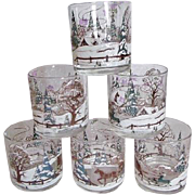 Culver Ltd Rocks Lowball Tumbler Glasses Embossed Winter Scene Set Of 6