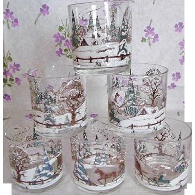 Culver Ltd Rocks Lowball Tumbler Glasses Embossed Winter Scene Set Of 6