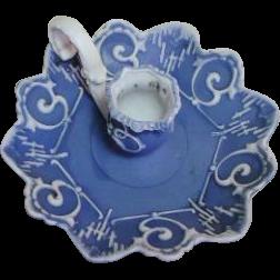 Art Nouveau Schafer & Vater Volksted Ornate Blue Jasperware Chamberstick Candle Holder