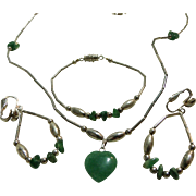 Native American Parure Silver-tone & Green Jade Necklace Earrings Bracelet Set