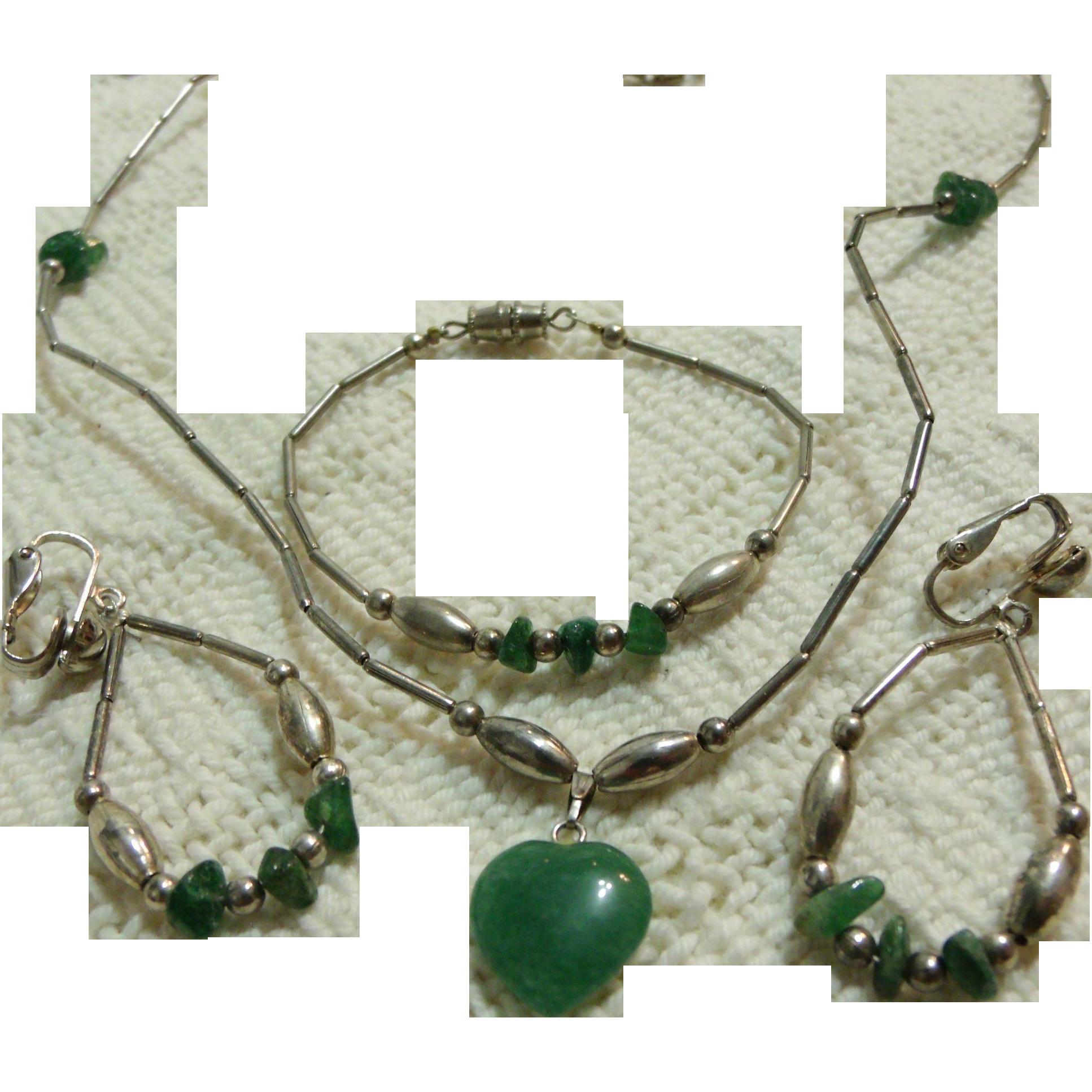 Native American Parure Silver-tone & Green Jade Necklace Earrings Bracelet Set
