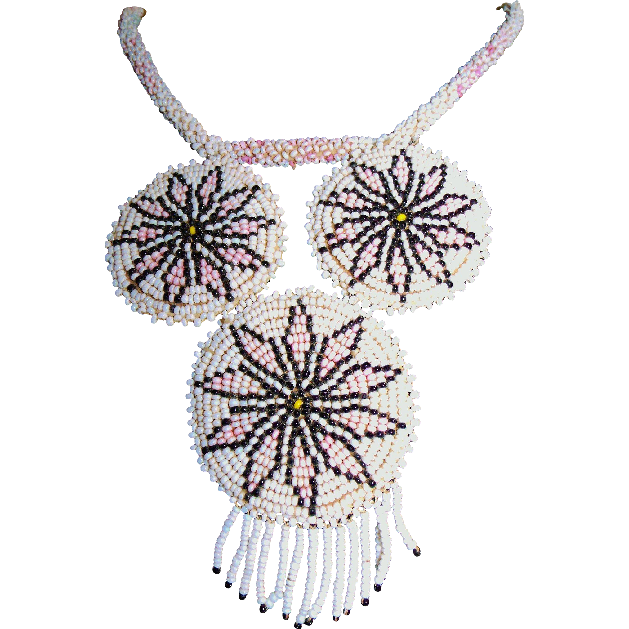 Southwestern Native Glass Seed Bead Necklace Pink Black White w/ Buckskin