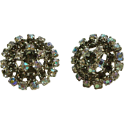 Gorgeous Smoke & Aurora Borealis AB Rhinestone Clip Earrings