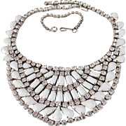 Wow! Vintage White Milk Glass & Rhinestone Bib Necklace Runway / Wedding