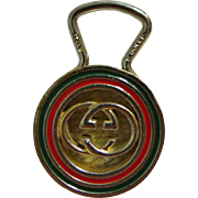 Vintage Gucci Genuine Red & Green Logo Key Ring Italy