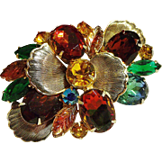 Stunning Multi-Colored Huge Rhinestone Pin Vintage