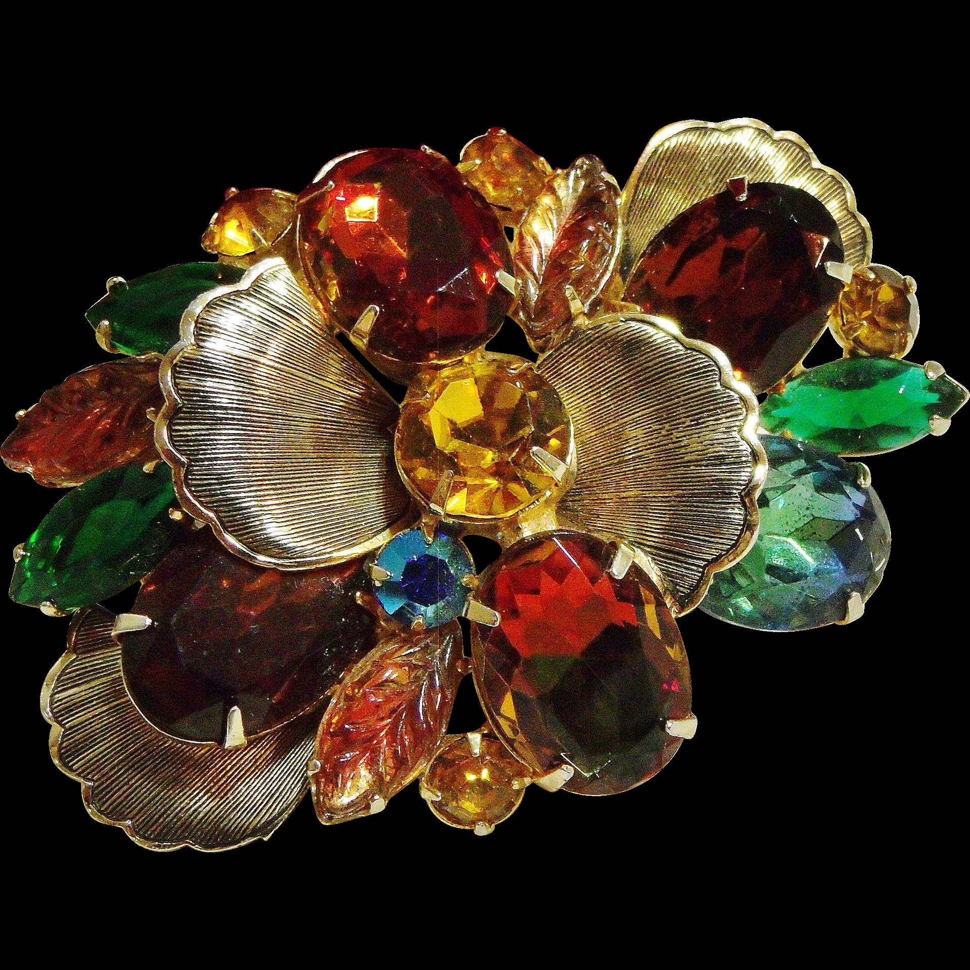 Stunning Multi-Colored Huge Rhinestone Pin Vintage